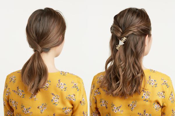 【セミロングアレンジ】簡単1分でこなれヘア♪ローポニー&ハーフアップのつくり方
