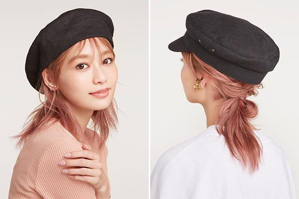 帽 ヘア アレンジ ニット